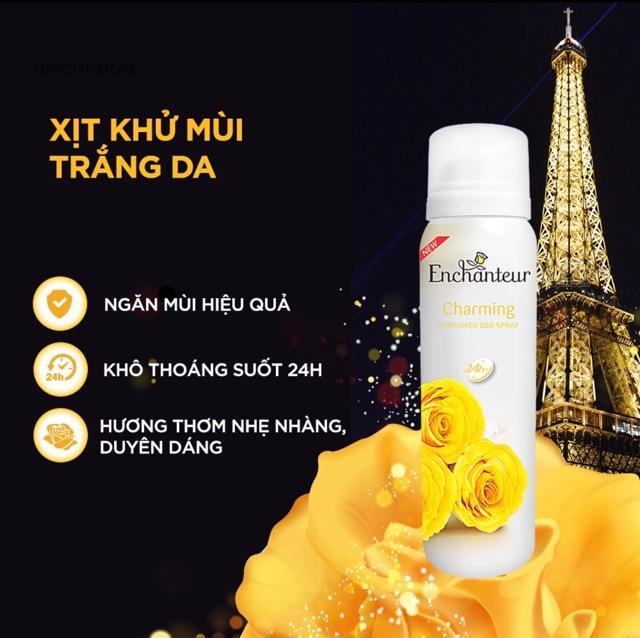 Combo Xịt khử mùi toàn thân Enchanteur Charming 150ml+Nước hoa bỏ túi Charming 18ml