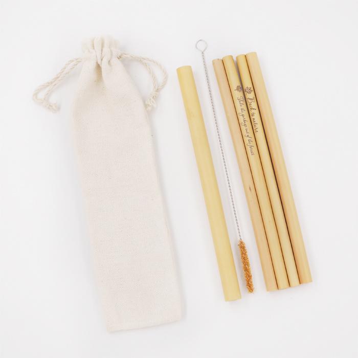 Ống hút tre - Túi Canvas (4 ống Cafe + 1 ống Trà sữa)  Bamboo Straws