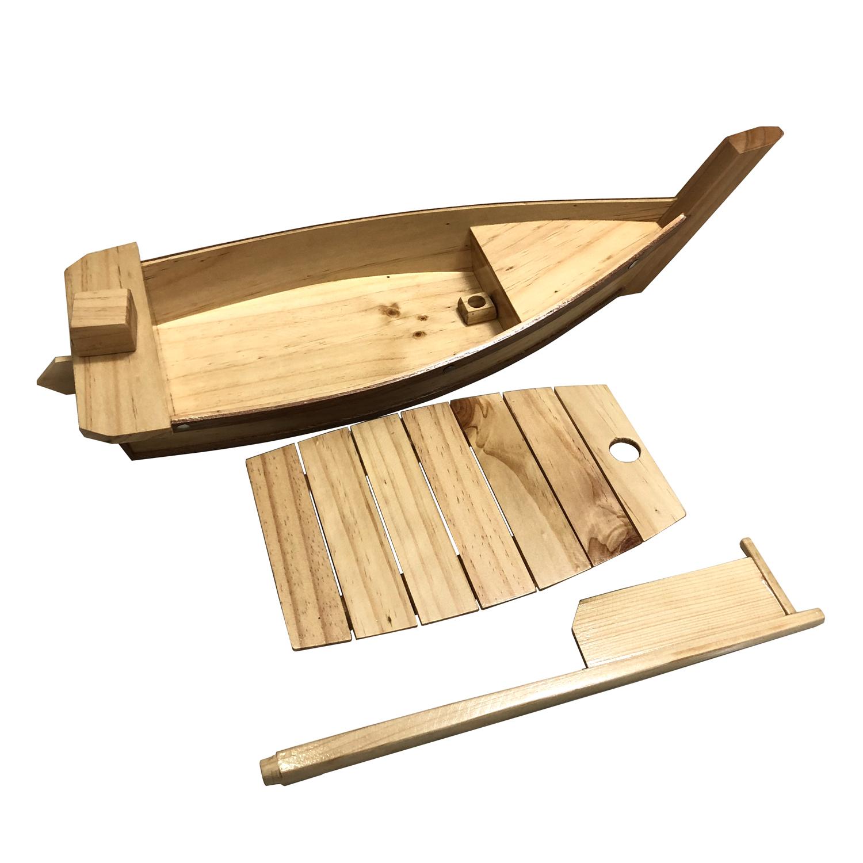 Khay thuyền gỗ trang trí món ăn thuyền gỗ Sushi Nhật Bản - Dài 45cm - Gỗ Thông Tự Nhiên