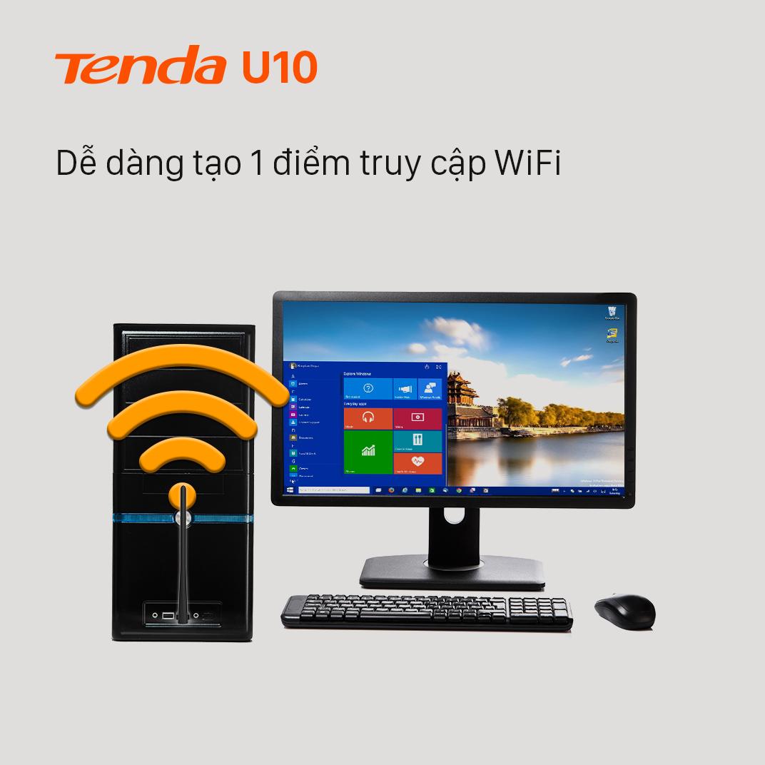 Tenda USB kết nối Wifi U10 chuẩn AC tốc độ 650Mbps - Hãng phân phối chính thức