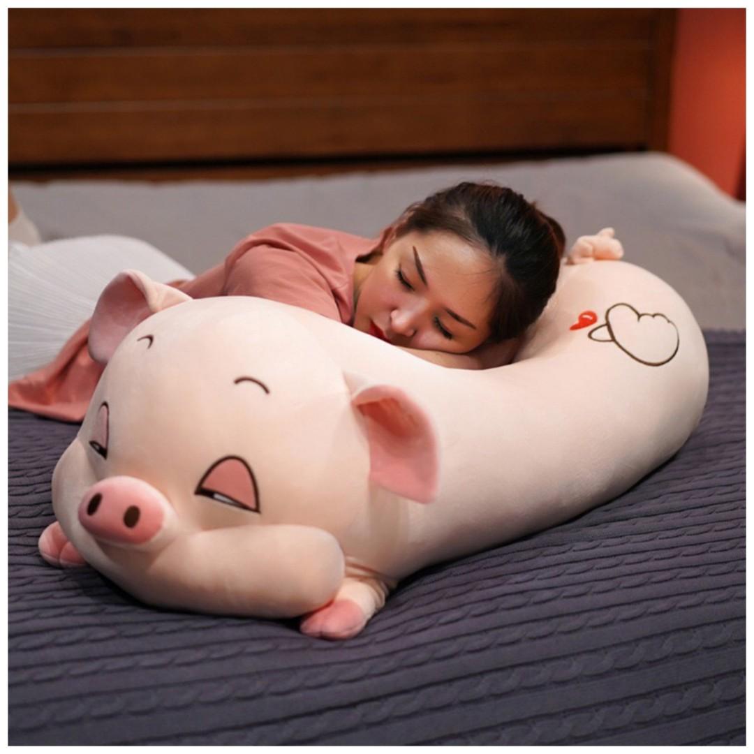 Gấu Bông Heo Bông Buồn Ngủ 90cm - Màu Hồng Đáng Yêu - Vừa ôm vừa gối cực êm ái, mềm mại, thích hợp làm quà tặng xinh xắn cho người thân yêu