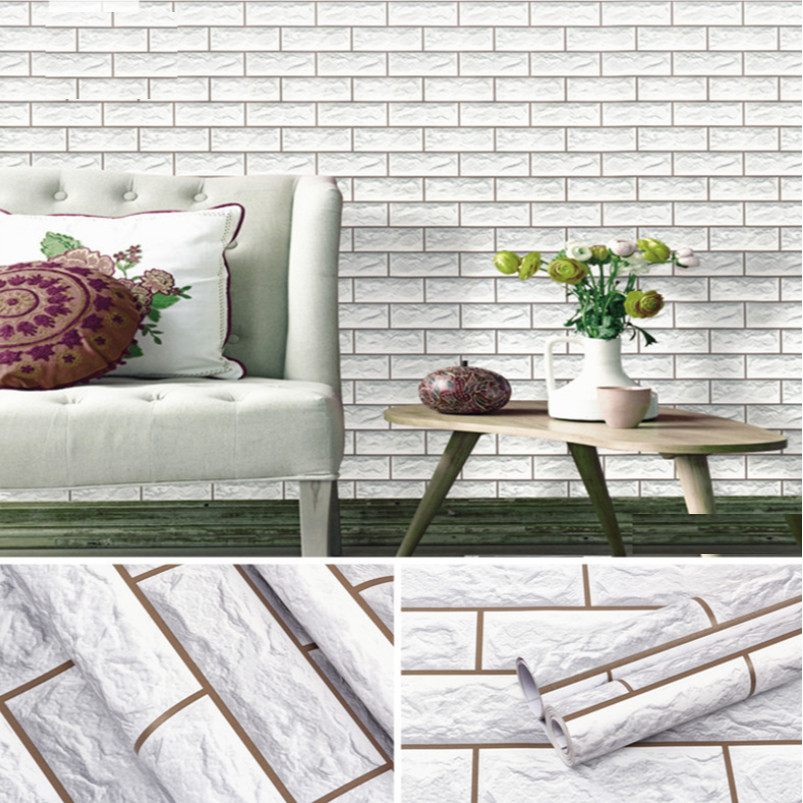 Cuộn 5m Decal Giấy Dán Tường gạch 3d xám bạc (5m dài x 0.45m rộng