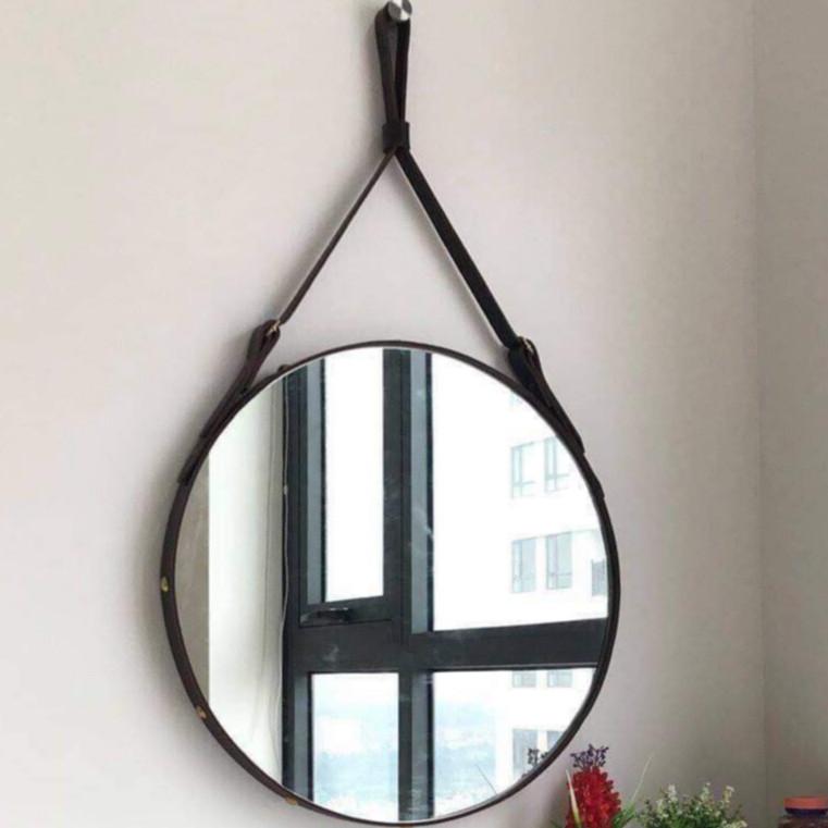Giương tròn treo tường viền dây da simili cao cấp 50cm