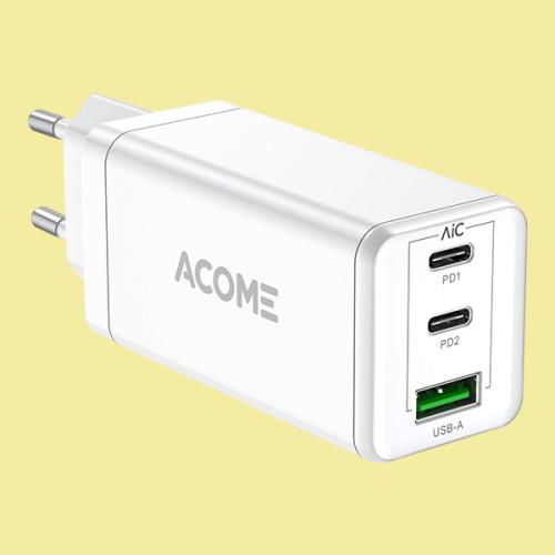 Củ Sạc - [[ Sạc Nhanh Gấp 3 Lần ]] - 3 Cổng - 1 Cổng USB / 2 Cổng Type-C 5A - ACOME ACG03 - Hàng Chính Hãng