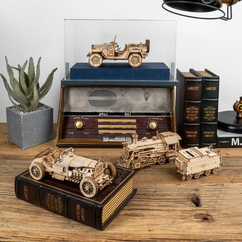 Đồ chơi lắp ráp gỗ 3D Mô hình Xe Ô tô V8 Grand Prix Laser MC401