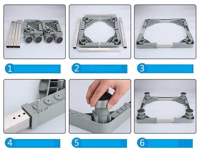 Kệ máy giặt, tủ lạnh thông minh điều chỉnh kích thước 3 chiều-Tấm kê chân máy giặt, tủ lạnh, máy sấy tùy chỉnh theo các kích cỡ khác nhau, 4 chân đế có thể điều chỉnh độ cao thấp+ Tặng hình dán ngẫu nhiên