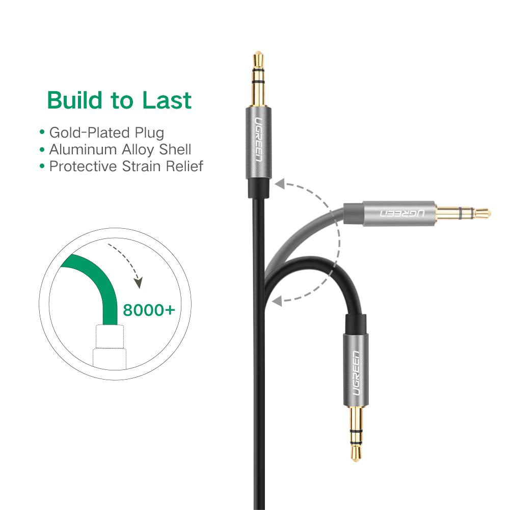 Dây Audio 3.5mm tròn mạ vàng 24K, TPE cao cấp dài 2M UGREEN AV119 10735 - Hàng chính hãng