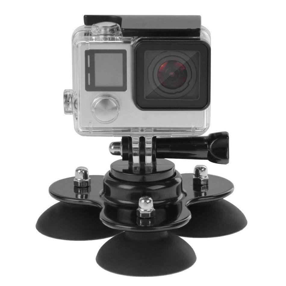 Hít kính 3 chân đế mini gắn GoPro Hero lên kính xe hơi