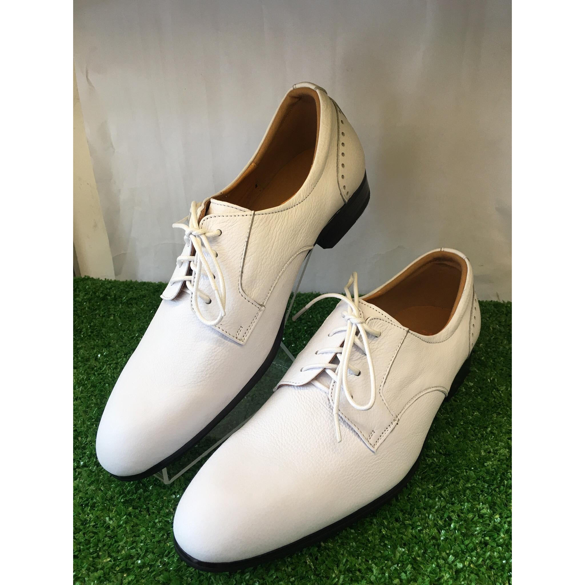 Giày Tây Nam Cột Dây Màu Trắng Giày Công Sở Da Bò Màu trắng-TT01