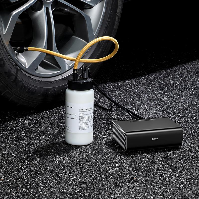 Máy bơm lốp xe di động Baseus Inflatable Pump và Bình dung dịch Reoair Fluid - Hàng chính hãng