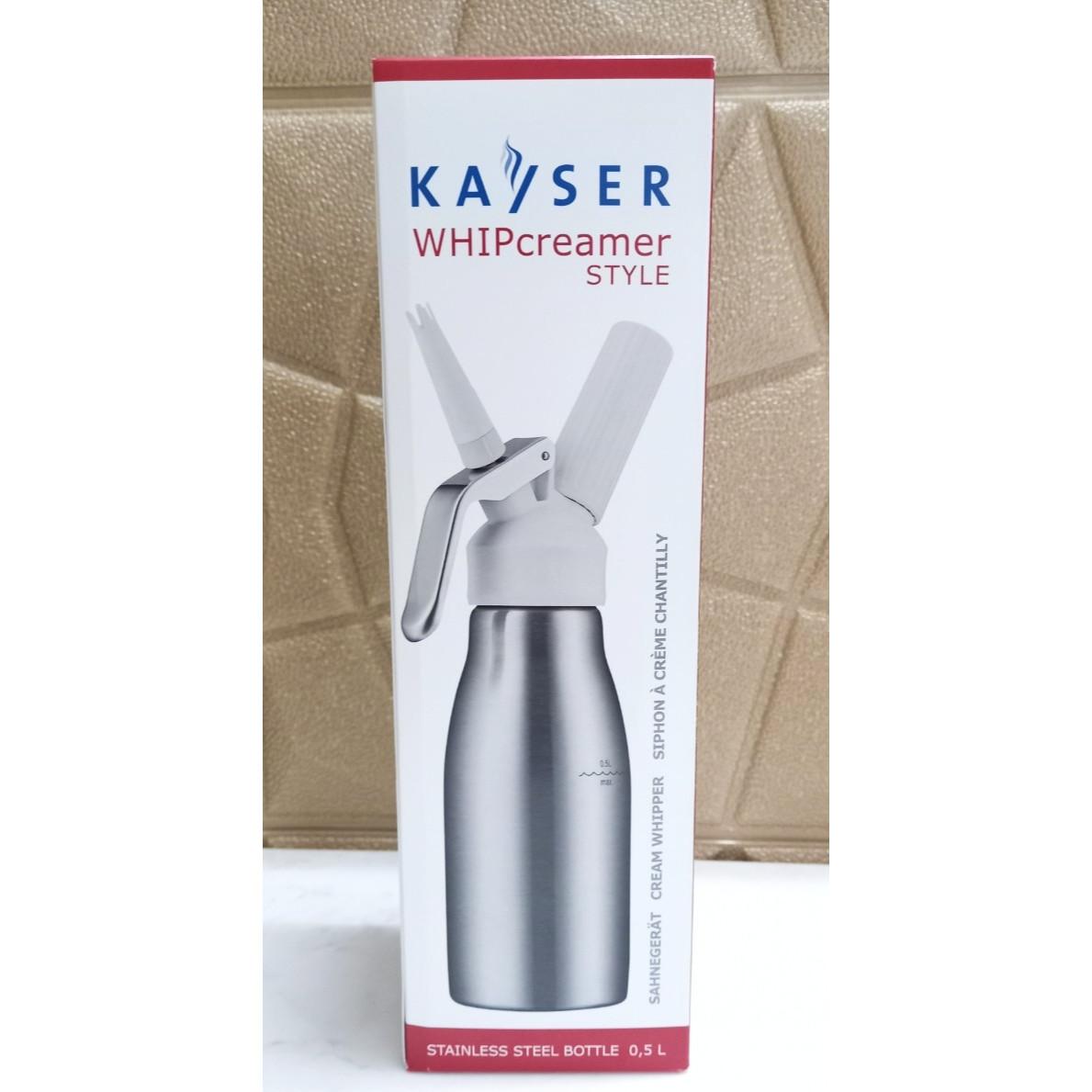 Bình Xịt Kem Tươi bằng Inox hiệu KAYSER dung tích 0.5 Lít mã hàng 4950 (Bình Inox, đầu nhựa) - Hàng Nhập Khẩu