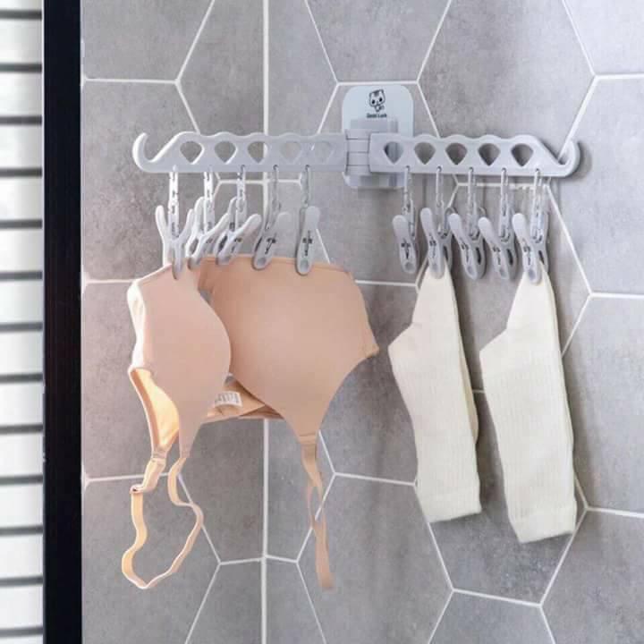 Móc treo quần áo tất dán tường thông minh 10 kẹp nhựa phơi đồ lót trẻ em người lớn đa năng tiện lợi. Móc đôi 10 kẹp dán tường siêu dính, bộ móc 10 kẹp treo tất vớ, khan, đồ lót tiết kiệm không gian - MTDL