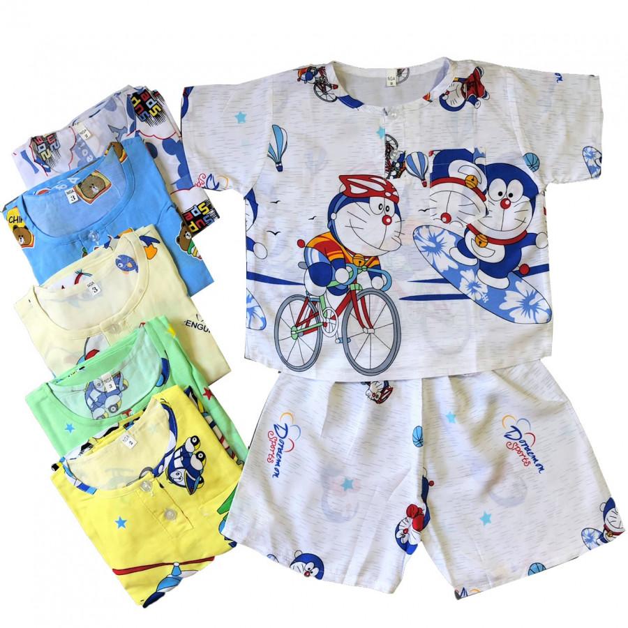 Combo 3 bộ quần áo CỘC TAY vải tole, lanh bé trai size từ 5-36kg