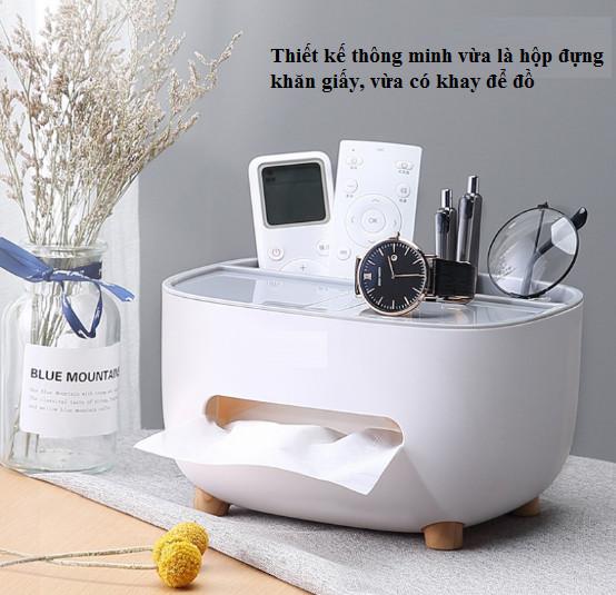 Hộp đựng khăn giấy, remote, điện thoại để bàn cao cấp, Kệ lưu trữ đồ dùng đa năng siêu tiện dụng
