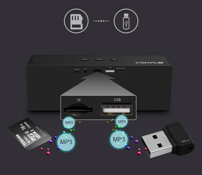 Loa Bluetooth mini Sansui âm thanh vượt trội - Hàng nhập khẩu