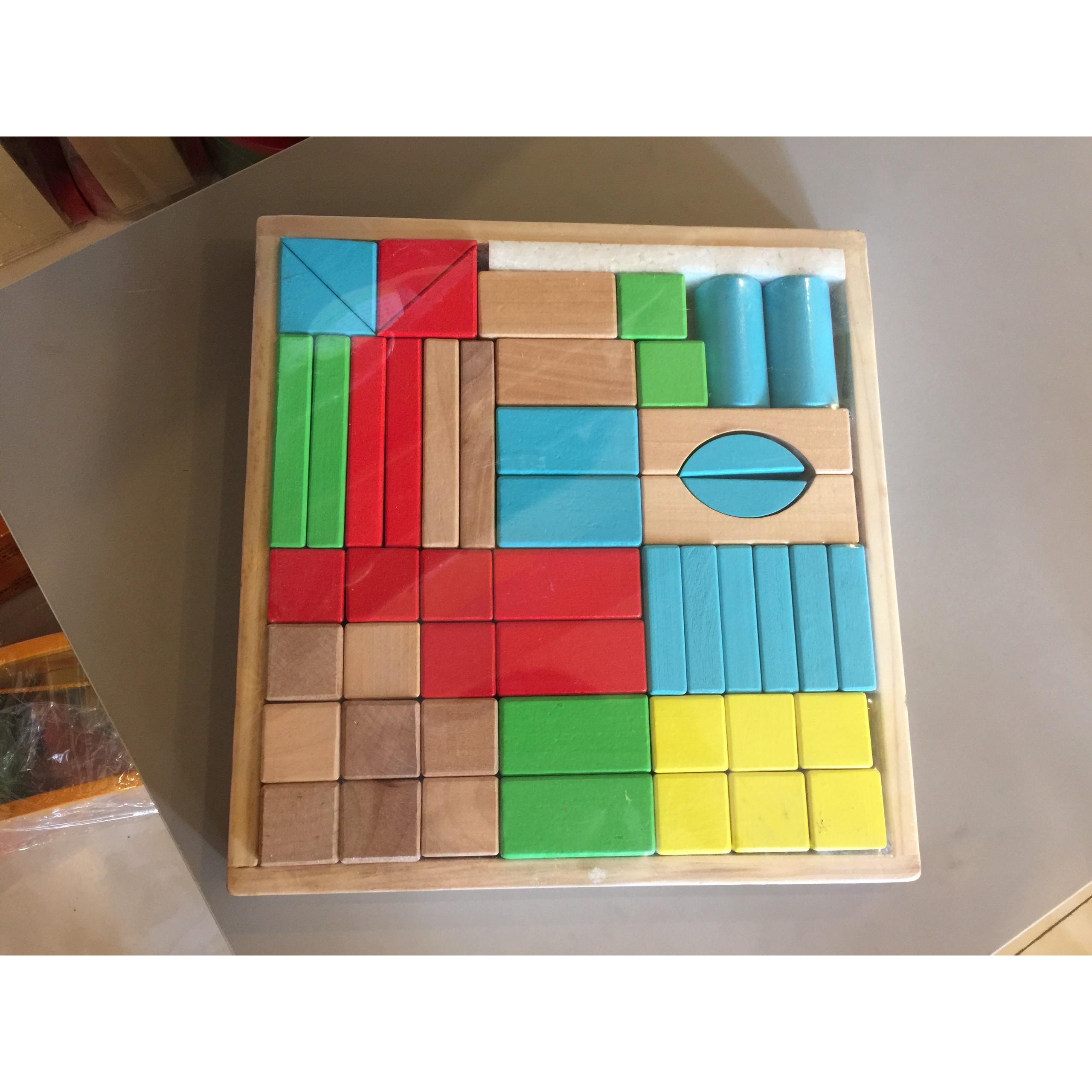 Bộ xếp hình khối 50 chi tiết gỗ