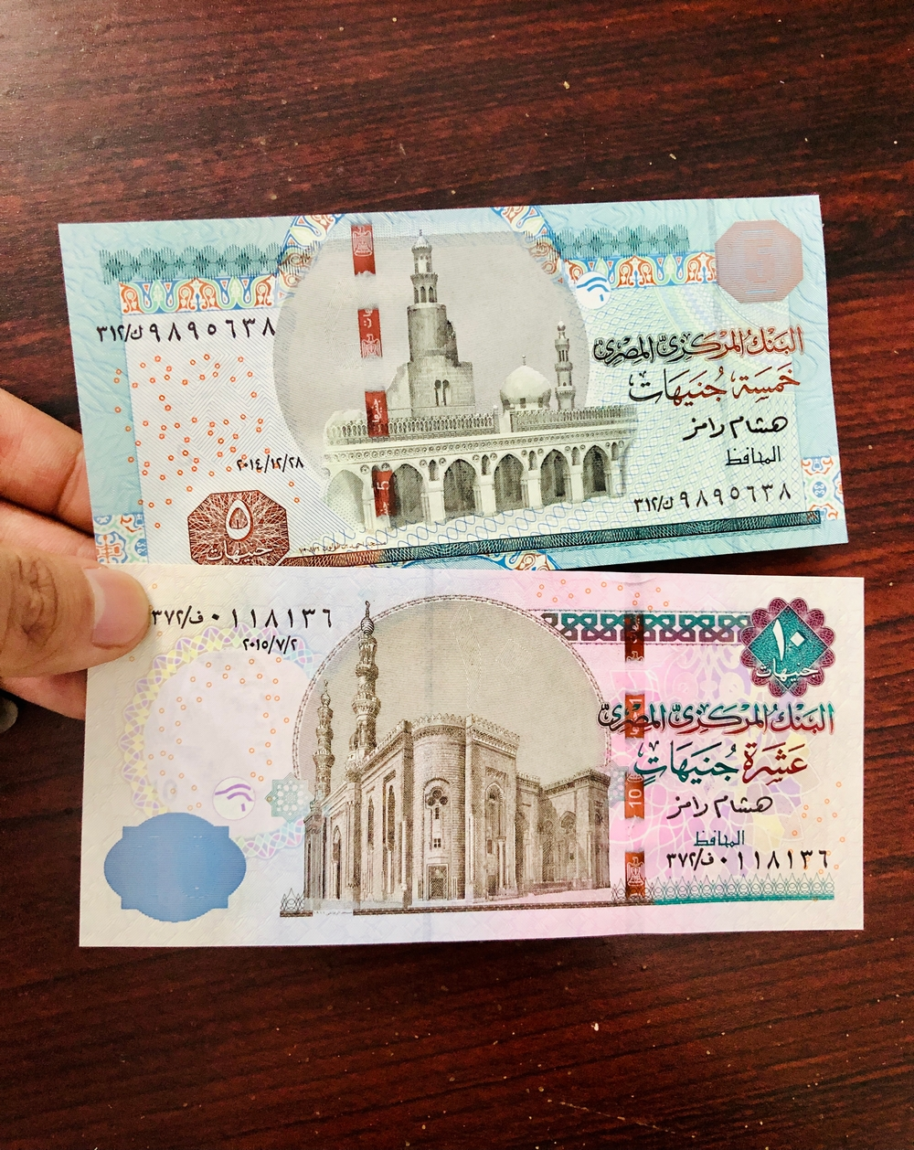 Combo 2 Tờ Tiền Ai Cập 5 10 Pound hình tượng nhân sư, mới 100% UNC, kèm bao lì xì