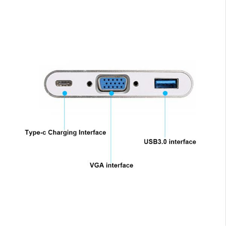 Cáp USB type-C to VGA/ PD/ USB 3.0 50738 bọc nhôm bạc