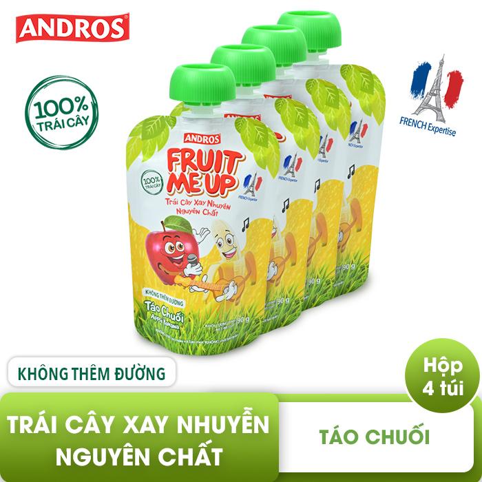 Trái Cây Xay Nhuyễn Nguyên Chất Andros Fruit Me Up  - Táo Chuối - Hộp 4 Túi (90g x 4)