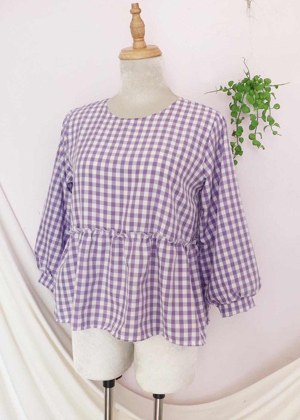 Áo kiểu nữ baby doll màu tím hot trend xinh xắn, dễ thương  RM011