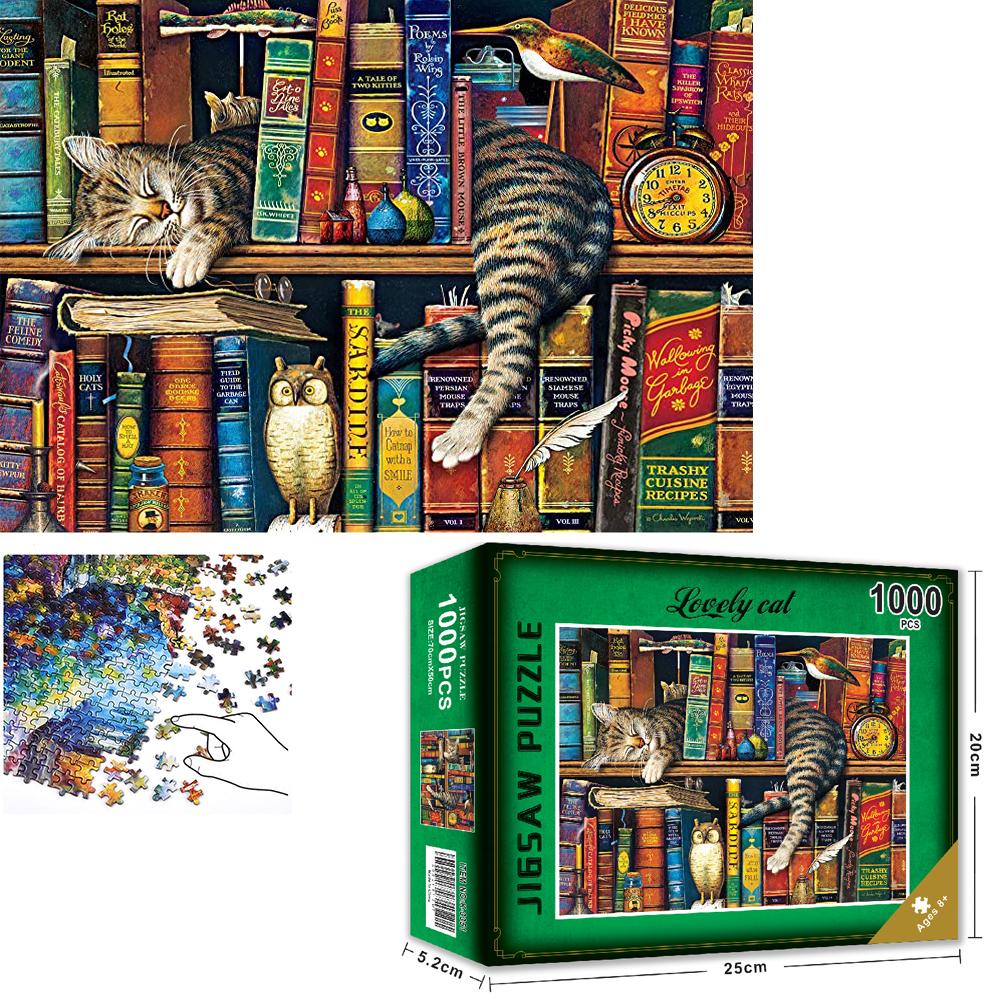 Bộ Tranh Ghép Xếp Hình 1000 Pcs Jigsaw Puzzle (Tranh ghép 70*50cm) Giá Sách Mèo Bản Thú Vị Cao Cấp