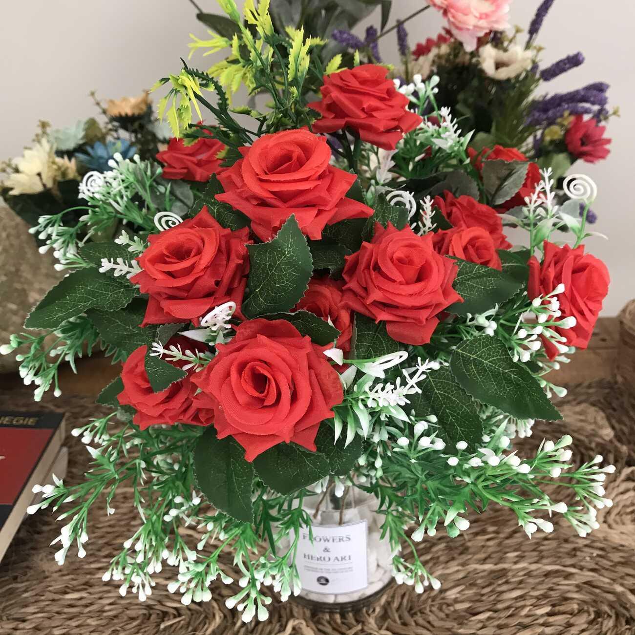 Binh Hoa Giả - Hoa Hồng Quế, Hoa Giả Vintage - Hoa Đẹp Để Bàn