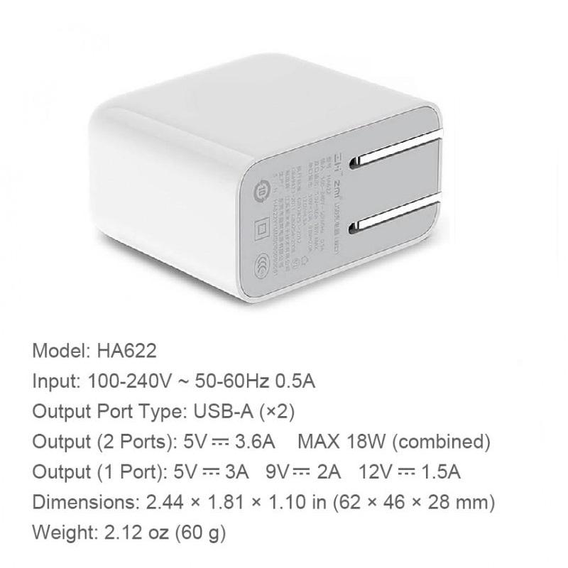 Adapter Sạc 2 Cổng Xiaomi ZMI HA622 Hỗ Trợ Sạc Nhanh QC 3.0 - Hàng Nhập Khẩu