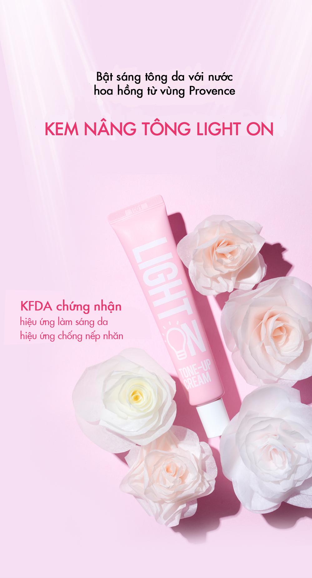 Kem Nâng Tông Da Bom Light On Tone -Up Cream