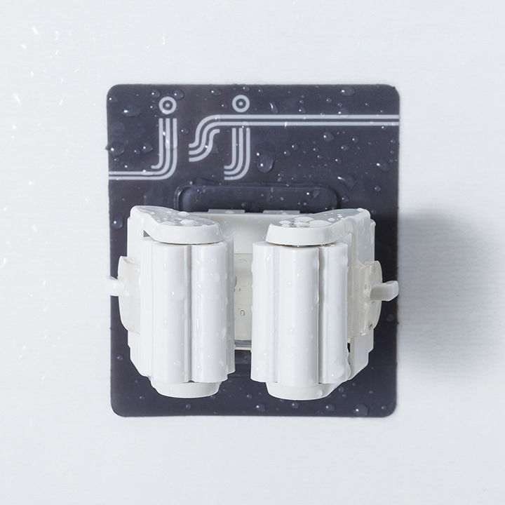 Bộ 2 móc treo chổi, cây lau nhà dụng cụ tẩy rửa nhà tắm dán tường chống khuẩn tiết kiệm không gian chịu lực tối đa 5Kg