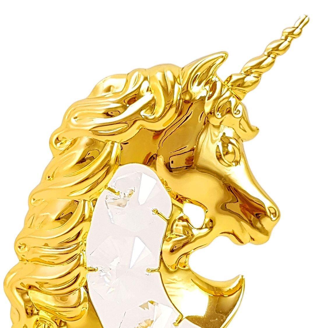 Ngựa Một Sừng Mạ Vàng Đính Pha Lê Swarovski