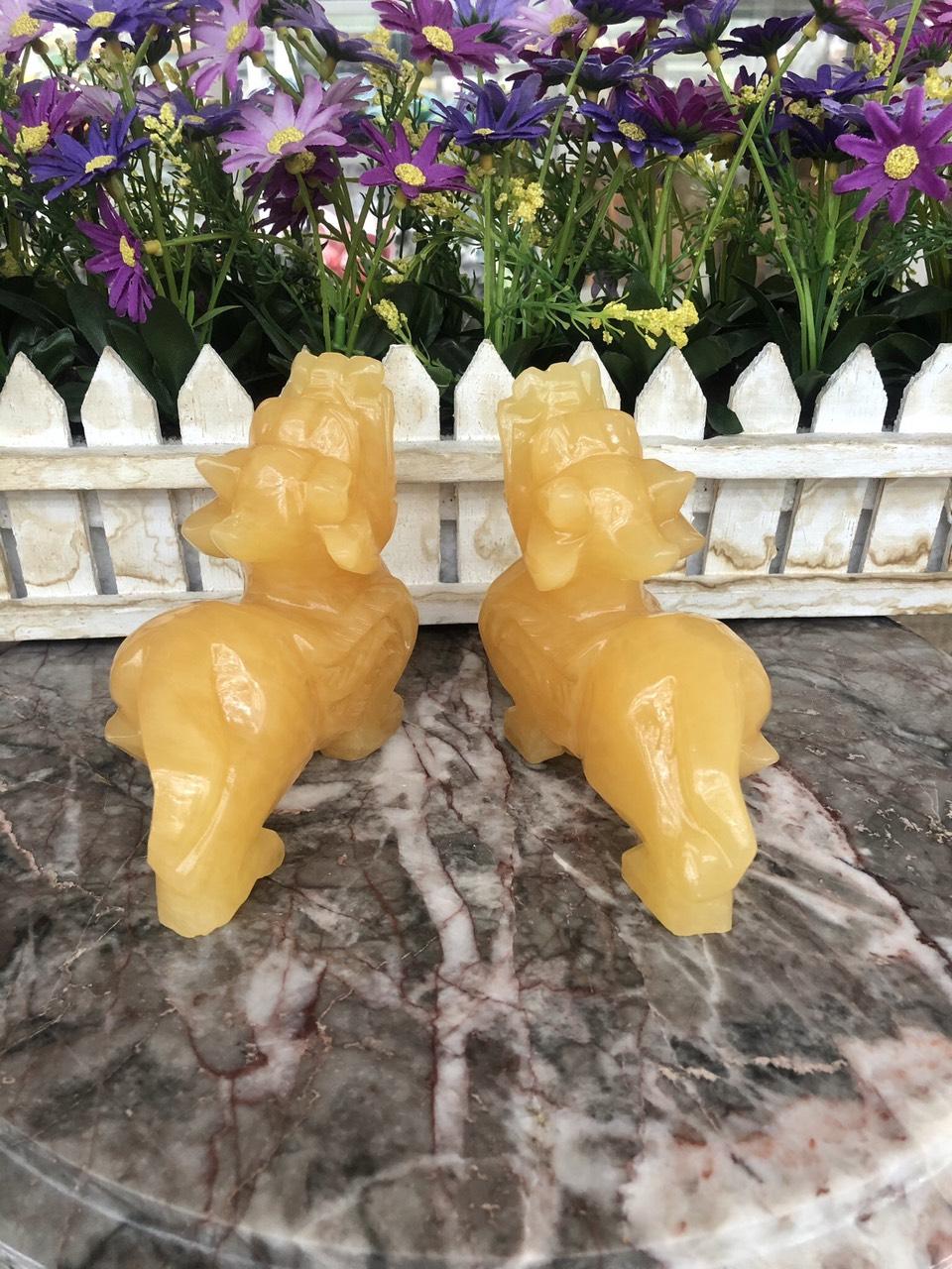 Cặp Tỳ Hưu phong thủy đá thạch anh vàng - Dài 13 cm