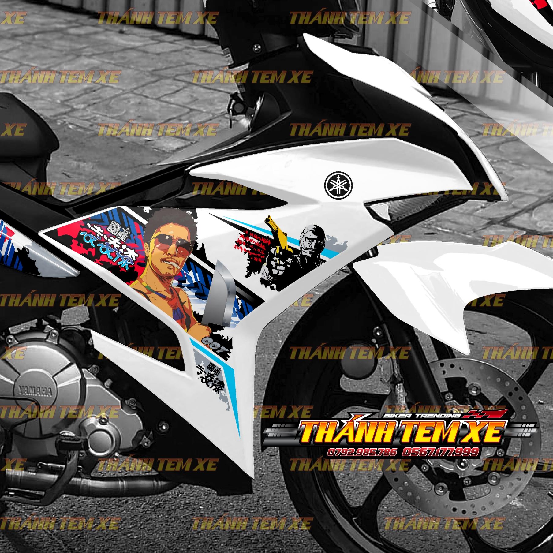 Bộ tem dán trang trí dành cho xe Exciter 150 màu trắng mẫu Quốc Sản 007