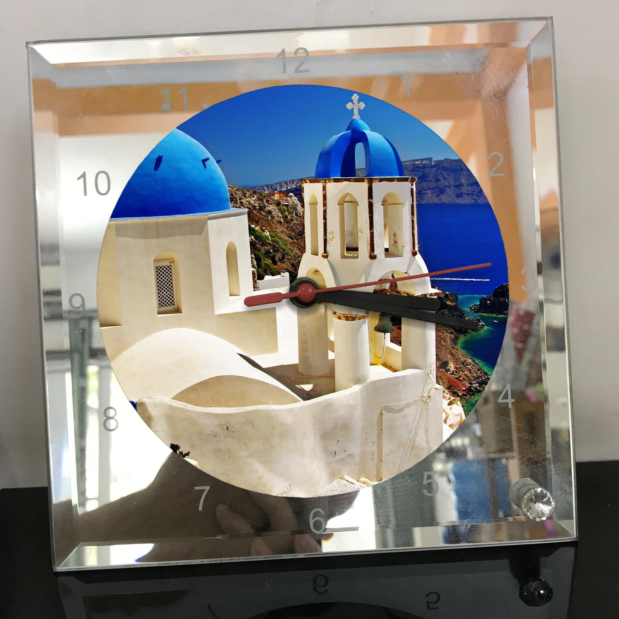 Đồng hồ thủy tinh vuông 20x20 in hình Church - nhà thờ (168) . Đồng hồ thủy tinh để bàn trang trí đẹp chủ đề tôn giáo