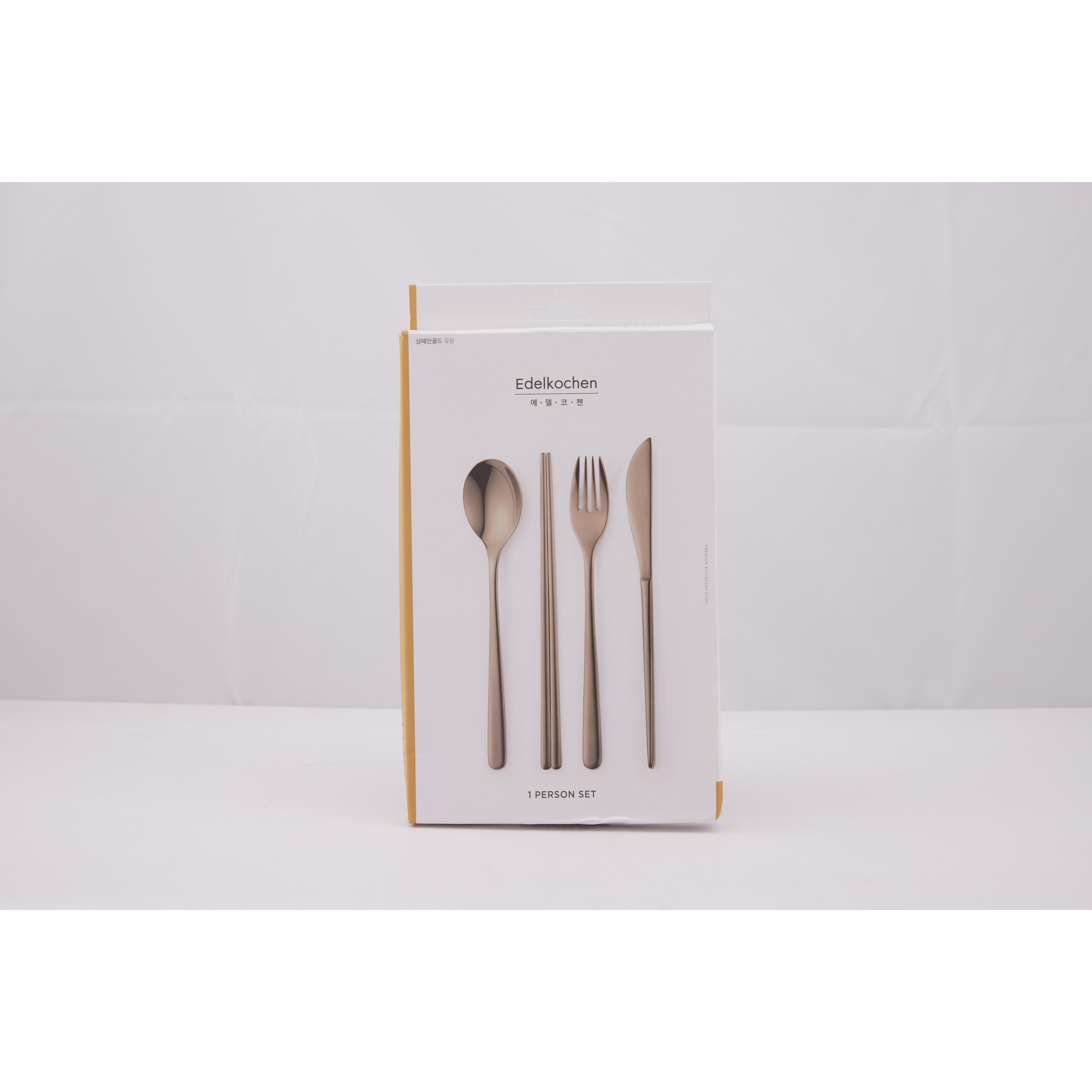 Bộ 4 cái gồm dao, đũa, muỗng, nĩa Edelkochen Inox bóng, màu vàng nhạt