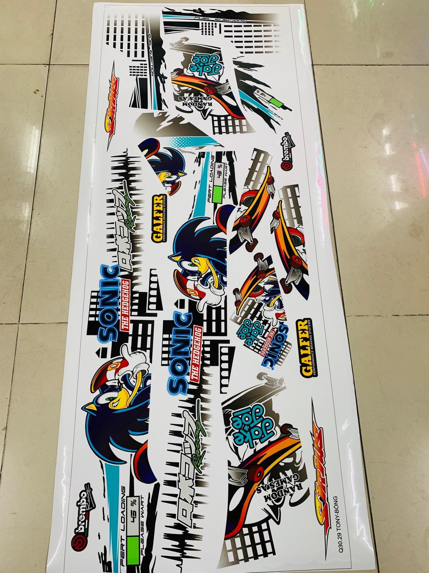 Tem rời dành cho xe máy Sirius mẫu Sonic Runing xe trắng