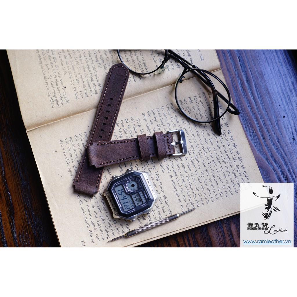 Dây đồng hồ da bò cho Casio AE1200 WHD và Seiko 5 37mm (Tặng Khóa ) - RAM MÀI NHÁM CAO CẤP