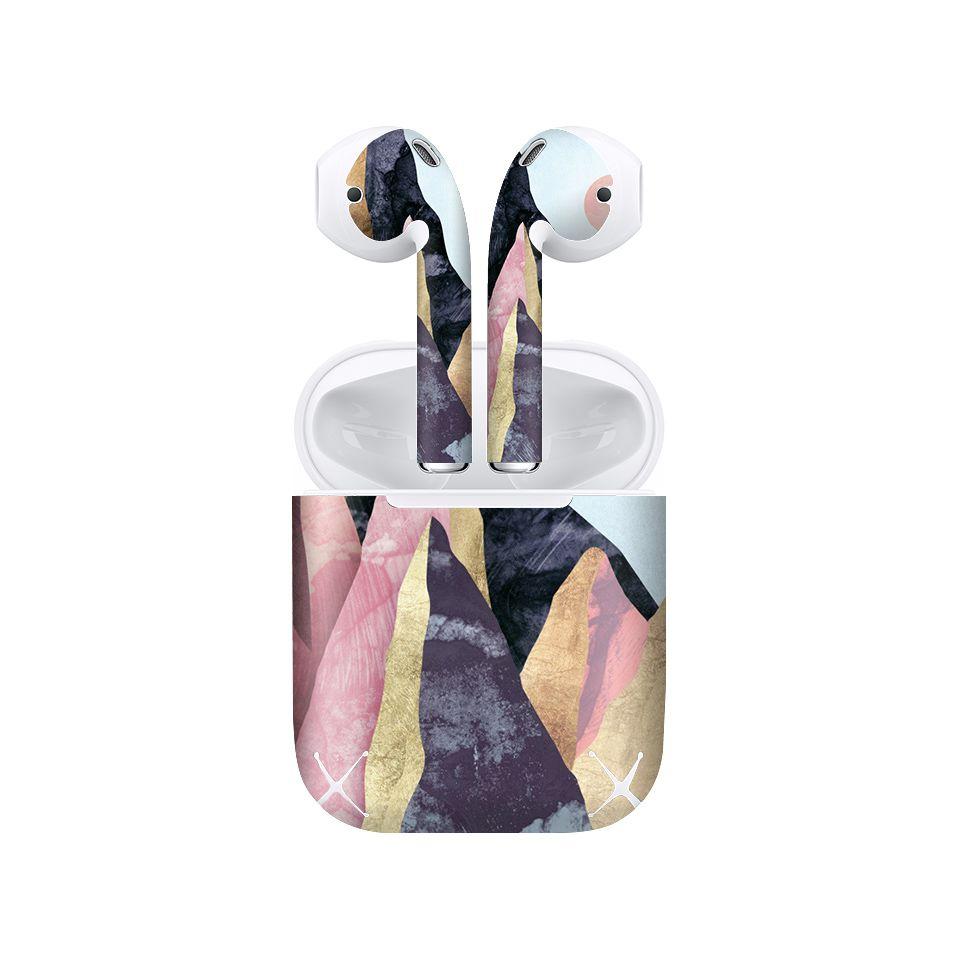 Miếng dán skin chống bẩn cho tai nghe AirPods in hình giả sơn mài - GSM144 (bản không dây 1 và 2)