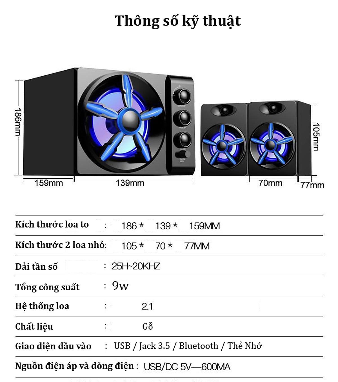 Combo Bộ 3 Loa Máy Vi Tính Để Bàn D-215 Hộp Gỗ, Âm Thanh Siêu Trầm, Hỗ Trợ Bluetooth, USB, Thẻ nhớ, Jack 3.5 + Tặng Tai Nghe Chụp Tai Chuyên Game CT-770 Cao Cấp