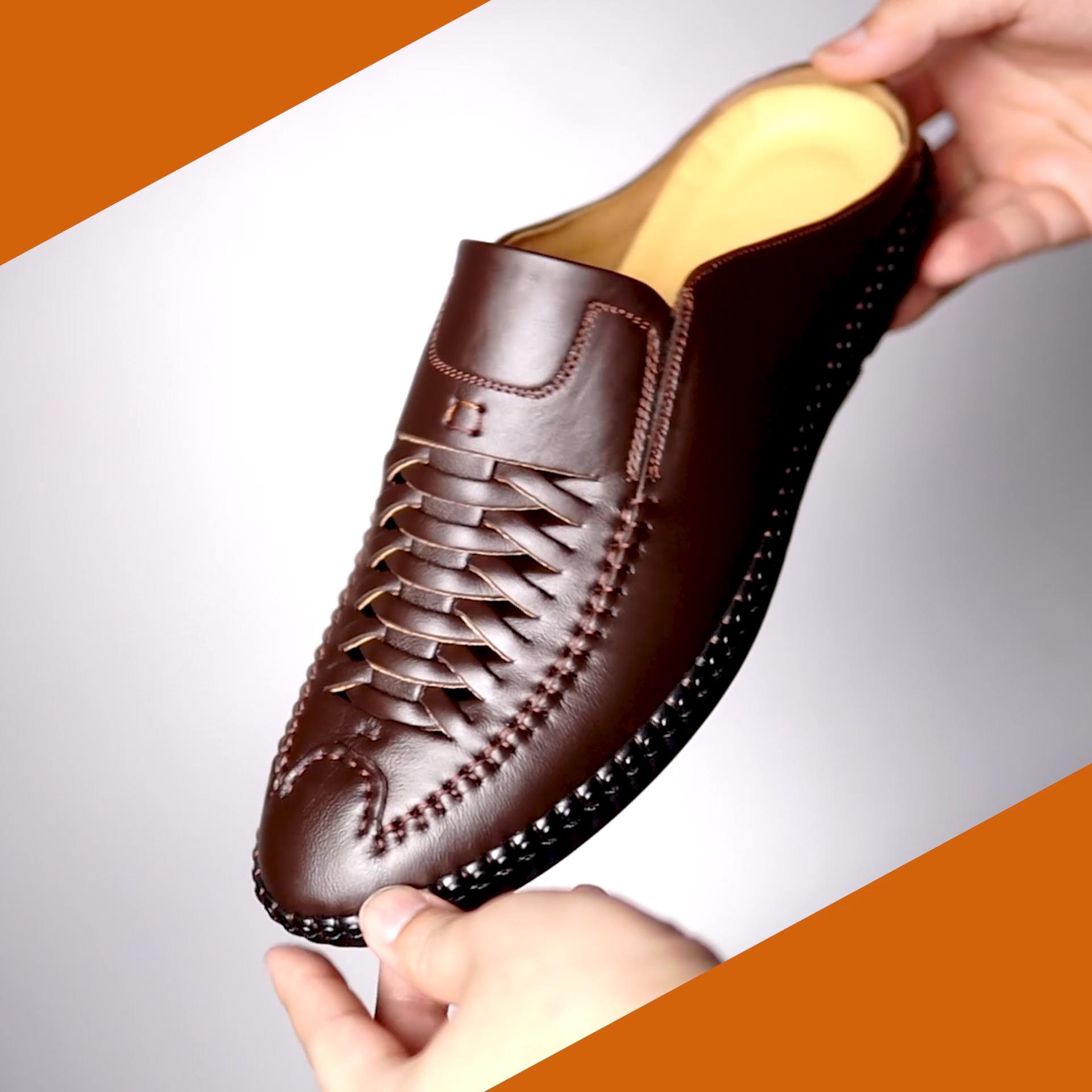 giày nam da bò thoáng khí  đế cao su khâu siêu bền -xc05