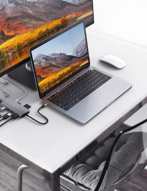 Cổng chuyển HYPERDRIVE USB TYPE-C HUB WITH 4K HDMI SUPPORT (FOR 2016 MACBOOK PRO & 12″ MACBOOK) GN22B- Hàng Chính Hãng