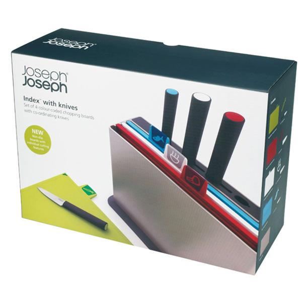 Bộ Dao Và Thớt 4 Cái Joseph Joseph 600964 - Index With Knives