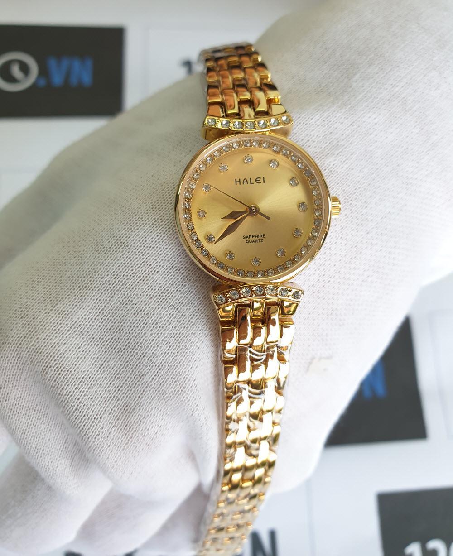 Đồng Hồ Nữ Halei Dáng Lắc 5011L - Dây vàng mặt vàng