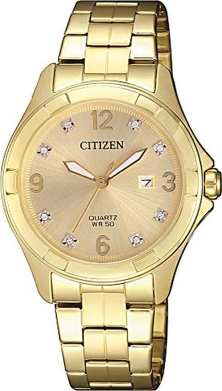 Đồng Hồ Citizen Nữ Đính Đá Swarovski Dây Kim Loại Pin-Quartz EU6082-52P - Mặt Vàng (32mm)