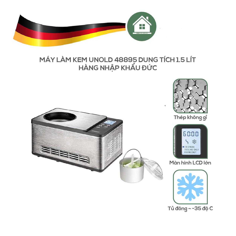 Máy Làm Kem UNOLD 48895 Dung Tích 1.5 Lít, Hoàn Toàn Tự Động, Tự Làm Đông - Hàng Nhập Khẩu Đức