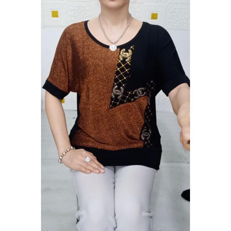 Áo đính đá cho mẹ - áo thun trung niên - thời trang trung niên big size 55-75kg