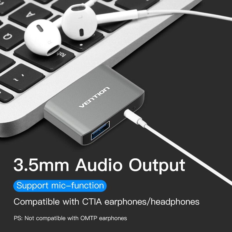 Chuyển đổi Type-C to USB 3.0/Audio 3.5mm chính hãng Vention - CFHH0