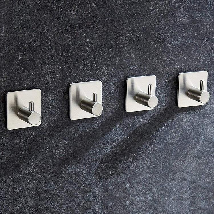Bộ 5 Móc Treo Đồ Inox 304 Hình Trụ - Móc Dán Tường Dùng Keo Chuyên Dụng Siêu Chắc Siêu Chịu Lực