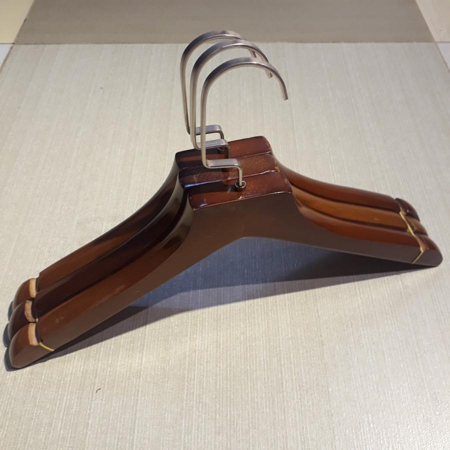Bộ 10 Móc Áo Gỗ 2cm Màu Nâu Cao Cấp.