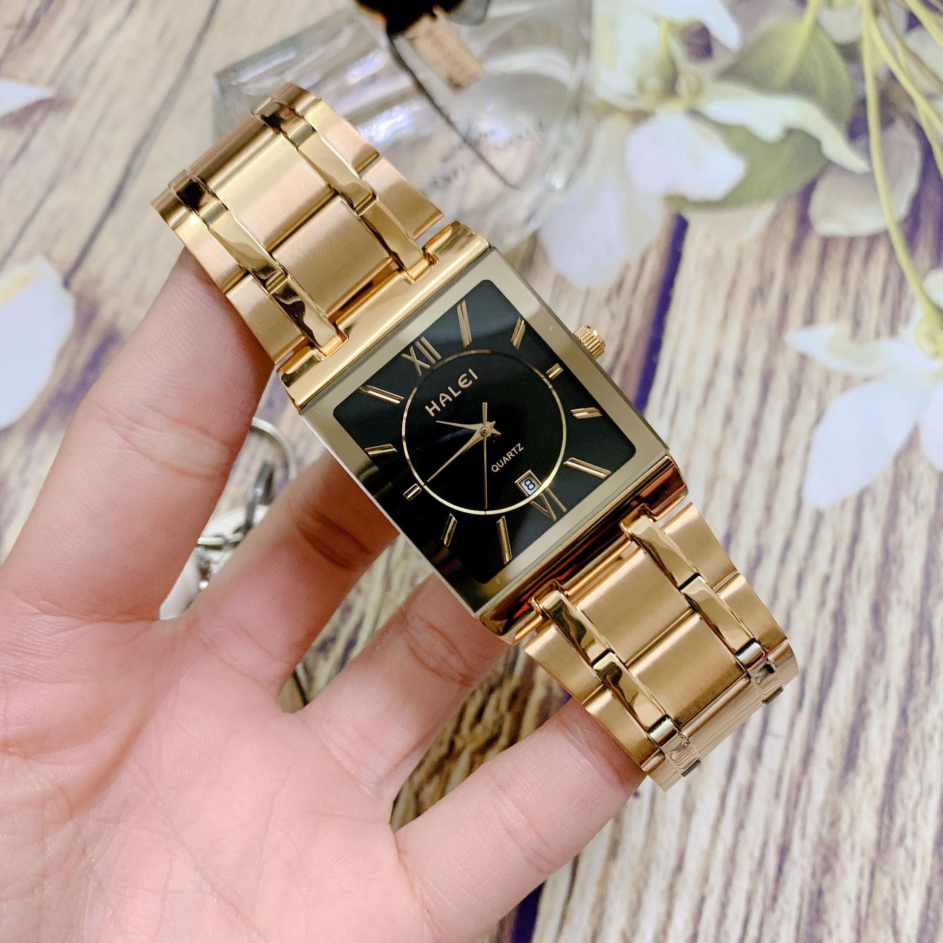 Đồng Hồ Nam Halei HL564 Dây vàng mặt vuông  (Tặng pin Nhật sẵn trong đồng hồ + Móc Khóa gỗ Đồng hồ 888 y hình)