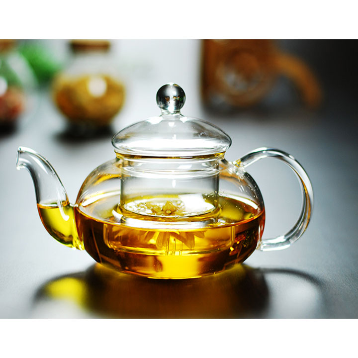 Bộ ấm chén pha trà thủy tinh có lõi lọc